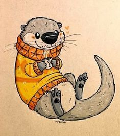 twelvepapercranes Sweater otter for Inktober 30 - New Ideas Animal Sketches, Animal Drawings, Drawing Sketches, Drawing Animals, Otter Cartoon, Cute Drawings, Cartoon Drawings, Cartoon Art, Otters