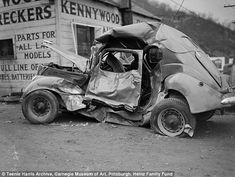 Ruined: Wrecked car at Kennywood wreckers, - People who cant get to one of those museums can view almost Harris images that have been scanned and put online along with audio interviews of people who knew him Carnegie Museum Of Art, Art Museum, Clean Your Car, Car Crash, Street Photographers, Take Care Of Yourself, Car Parts, Vintage Cars, Vintage Auto