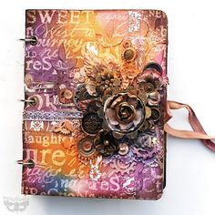 Prima Goes Inky - Journal Cover by Finnabair Mini Albums, Mini Album Scrap, Altered Canvas, Altered Book Art, Mixed Media Journal, Mixed Media Canvas, Mix Media, Creative Journal, Paperclay