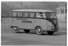 """Barndoor Bus at Heldenplatz, 1010 Vienna - dated This bus has been converted by coachbuilder """"Karl Schreiner & Söhne"""" Vintage Pictures, Old Pictures, Old Photos, Volkswagen Transporter, Volkswagen Bus, Vw Logo, Vienna, Porsche, Automobile"""