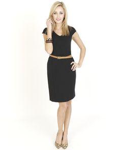 Black Dresses - Jersey Simple Belted Black Dress - http://www.blackdresses.co.uk