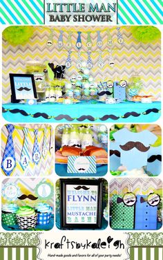 PERSONALIZED Printable Little Man Mustache Baby Shower Party Package - INCLUDES INVITATIONS! on Etsy, $30.00