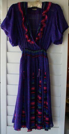 Diane Freis Original Georgette Dress- Vintage - Ruffled V-Neckline -Tassle Tie #DianeFreis #Georgette #Cocktail
