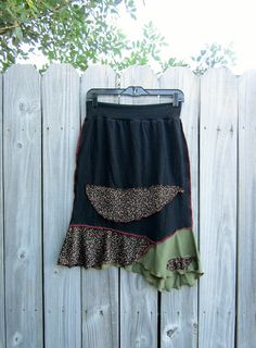 Prairie flowers black upcycled skirt/ un even hemline/ by 75Rabbit, $36.99