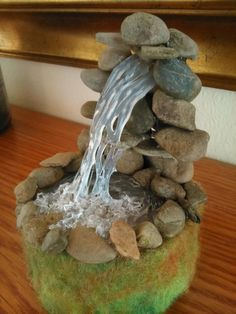 Waterfall created by using a hot glue gun. - Good Gardening