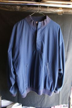 Men's Navy Blue Large Long Sleeve Micro Polyester Outerwear