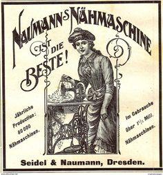Werbung - Original-Werbung/ Anzeige 1900 - NAUMANN'S NÄHMASCHINEN / SEIDEL & NAUMANN - DRESDEN - ca. 90 x 90 mm