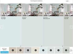 Sherwin Williams ColorSnap Compare Colors: Sky High, Top Sail, Mountain Air, Sea Salt