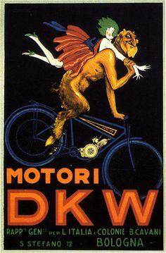 """Motori DKW"" Poster by Luciano Achille Mauzan (1914)"