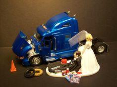 AUTO MECHANIC Truck Wedding Cake Topper New Peterbilt Blue Tractor Semi FUNNY