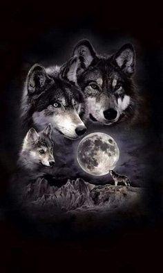 -Super tattoo back moon wolves Ideas Ideas de tatuajes super lunares lobos See it Wolf Pack Tattoo, Wolf Tattoo Design, Wolf Photos, Wolf Pictures, Wolf Tattoos, Wolf Artwork, Wolf Painting, Fantasy Wolf, Wolf Spirit Animal