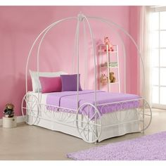 DHP Princess Carriage Twin Metal Bed
