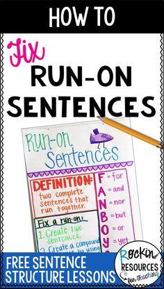 Writing Mini Lesson Run-On Sentences Writing Strategies, Writing Resources, Writing Skills, Writing Ideas, Writing Activities, Writing Advice, Teaching Grammar, Teaching Writing, Teaching Tips