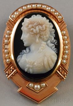 Antique 14kt Gold and Seed Pearl-mounted Carved Cameo Pendant/Brooch