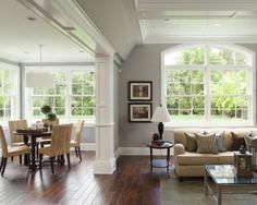 beige couch agains the grey walls with white trim and hits of black--open porch to family room Interior Design Trends, Design Ideas, Dutch Colonial Homes, Beige Couch, Tan Couches, Brown Couch, Cream Couch, Tan Sofa, Design Salon