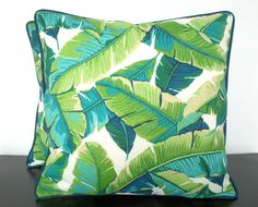 Tropical palm leaf pillow cover 20x20 in indoor outdoor fabric green and blue decor by anitascasa on Etsy https://www.etsy.com/listing/244971013/tropical-palm-leaf-pillow-cover-20x20-in