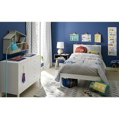 EverSimpleWhiteBedroomJLCK18 Neutral Bedding, White Bedding, White Trundle Bed, White Kids Bed, Grey Side Table, Wide Dresser, House Shelves, Adjustable Floor Lamp, Bed Storage