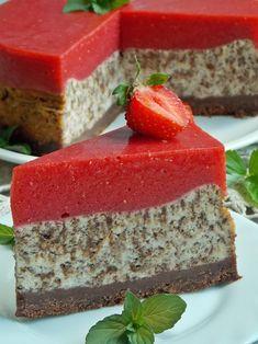 Sernik straciatella z musem truskawkowym Fruit Recipes, Desert Recipes, Sweet Recipes, Cake Recipes, Cooking Recipes, Original Cake Recipe, Delicious Desserts, Yummy Food, Yummy Cakes
