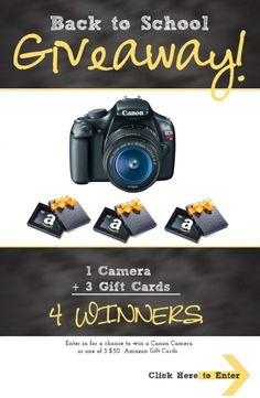 Canon EOS camera giveaway and Amazon gift cards for back to school!  #giveaway