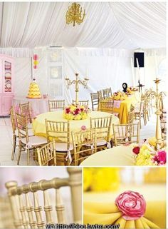Beauty and The Beast Wedding Decor - Bright Yellow, Pink and Red