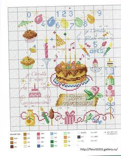 0 point de croix grille et couleurs de fils carte invitation anniversaire enfant