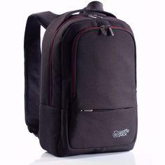 Wolffepack Metro Designer Backpack, 22L Black and Red