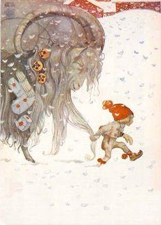 Yule goat and elf, Children's Fairy Tale Illustrator John Bauer John Bauer, Swedish Christmas, Scandinavian Christmas, Xmas, Art And Illustration, Book Illustrations, Troll, Boy Tumblr, Yule Goat
