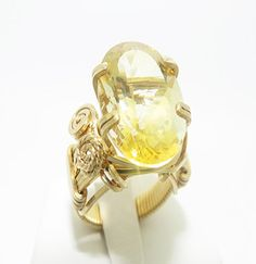 Handcrafted Handmade 14K Gold Filled Beads Fine Fashion Wire Jewelry Yellow Citrine  Jewellery  Ring on Etsy, $399.00