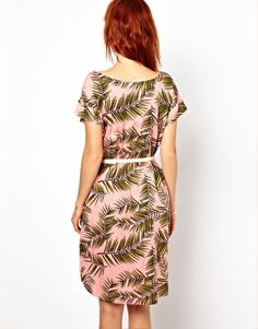 Image 2 ofGanni Woven Tee Dress in Palm Print with Patent Leather Belt