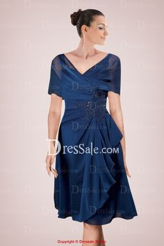 Vogue Chiffon Knee-length A-line Mother of Bride Gown Accented with Applique and Ruffles