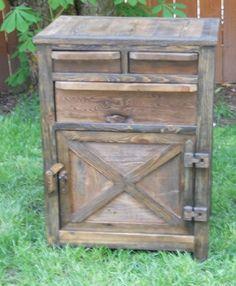 Nightstand w/3 drawers 1 door and hidden compartment under floor   Wooden hinges and latch