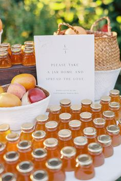 "From the editorial ""Check out This Stunning Sonoma Wedding for a Major Dose of All Things Autumn."" The sweetest touch to the perfect day!  These honey favors were produced by the bride's father from his own bees! 🐝 Head to SMP to see the rest of this stunning Sonoma wedding!   Photography: @amandacrean Designer + Planner: @kaellalynn  #autumnwedding #fallwedding #honeyfavors #weddignfavors #weddingideas"