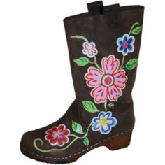 Lots off Bright Handpainted flowers makes this Boot truly one off a kind.These boots run smal ,order a size up. Clog Boots, Wooden Clogs, Rubber Rain Boots, Hand Painted, My Style, Brown, Sweden, Shoes, Oil