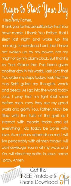 Prayer to Start Your Day. Talking to God first thing in the morning is a great way to set the tone for the day and ask the Holy Spirit to walk with me all day long. In Jesus name. Prayer Scriptures, Bible Prayers, Faith Prayer, Prayer Quotes, My Prayer, Bible Quotes, Spiritual Quotes, Church Prayers, Bible Niv