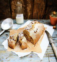 Pear, coconut bread.