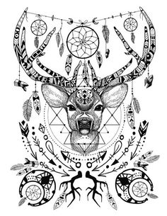 Wild and free spirit animals - printable color page and crystal grid. Adult coloring books, art therapy, and coloring for zen are all the rage. This sweet little deer is available on Etsy to print! Only $2.00!