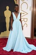 #TheOscar2014 Lupita Nyong'o wore a pale blue plunging Prada gown with a Fred Leighton headband and jewellery.