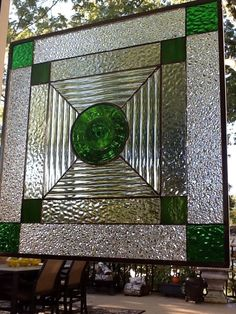 Stained Glass Transom Window Panel Green Rondel with Reed Hammered Ice Clears   eBay