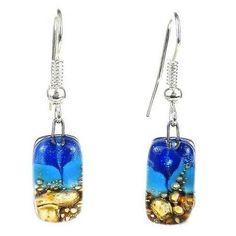 Sand and Sea Small Glass Earrings - Tili Glass