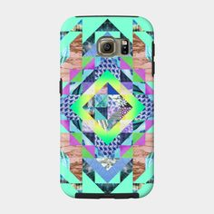 Clarice Samsung Case by Fimbis  ///   Also available as a T Shirt, Art Print, Phone Case, Tank Top, Crew Neck, Pullover, Zip, and Sticker.  ///    #geometric #colourful #colorful #Samsung #Smasunggalaxy #mint #collage #pastel #S6