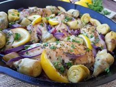 This is a regular at our house because it's fast, and so good! 6 servings Preheat oven to 350 degrees Ingredients: 6 chicken breasts, pat dry 1 fresh lemon 1 large sliced red onion 1.5 cups natural marinated artichoke hearts Ingredients for dressing: 1/4 cup extra virgin olive, or avocado oil...