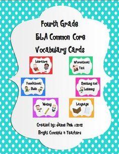 ELA Common Core Vocabulary Cards-Fourth Grade