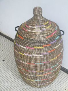 Rainbow Black Hamper Basket african styl Laundry by africanbaskets