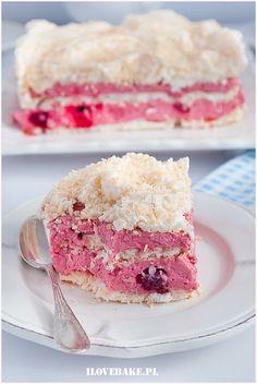Tort bezowy z malinami - I Love Bake