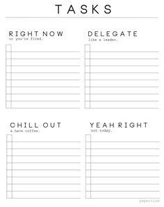 Pretty Unpretentious: Free Printable: A Realist's Task Sheet