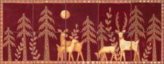 """Tile Grouping - Murals Deer in Moonlight Rosewood 10-Piece 16"""" x 40"""""""