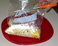 omelet in a Ziploc- These are the best way to cook breakfast for a large group while camping. Just remember to get Freezer bags or else they will melt and break apart :)