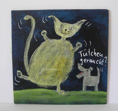 TÜTCHEN GERAUCHT ? von Herbivore11 Unikat Comic Katze Hund Minibild Inchie Tüte