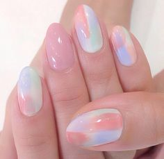Pastel watercolour nail art