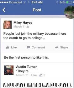 Well played Marine, well played